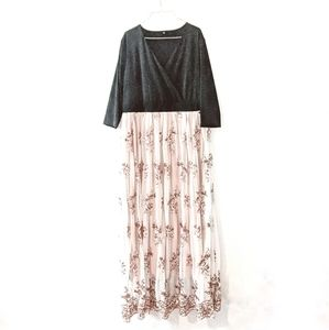Formal Sequin Tulle Maxi Dress Rose Gold 18W